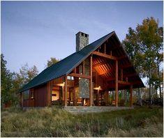 (via Houses / Weekend Cabin: Jackson County, Colorado) inside outside fireplace.