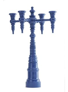 Dunes & Duchess: 4-arm Turned Maple Candelabra in 'Admiral of the Yacht Club' Blue - Mabley Handler Beach House Dining Room at the 2012 Hampton Designer Showhouse