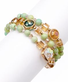 Gold  Green Layered Beads Stretch Bracelet