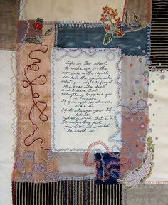 """Million Little Stitches: Textile Fragment by maya matthew - """"pieces of cotton, tussar silk, cotton silk. Cotton which has been block printed, cotton stitched and dyed with tea and silk on which I've experimented with discharge. """""""
