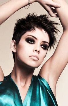 Edgy short hair, bold makeup