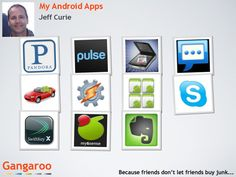 These are my favorite Android Apps.  What are yours?  Gangaroo is a great place to share them.  http://www.gangaroo.com/users/jeffcurie/collections/234