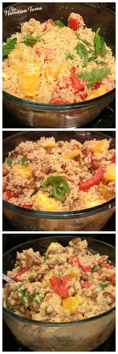 Whole Wheat Couscous & Citrus Champagne Vinaigrette   HUGE Portion Only 315 Calories   Super Satisfying &Easy   For MORE RECIPES please SIGN UP for our FREE NEWSLETTER www.NutritionTwins.com