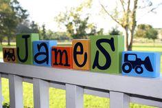 CUSTOM LETTER BLOCKS - Tractor Boy Bedroom Digger Nursery Personalized Sign Baby Shower Gift John Deere Truck Construction
