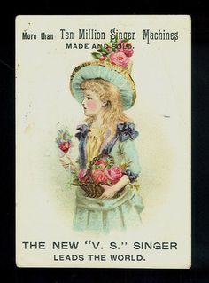 Pretty Blonde Girl in Blue Victorian Trade Card Singer Sewing Machines