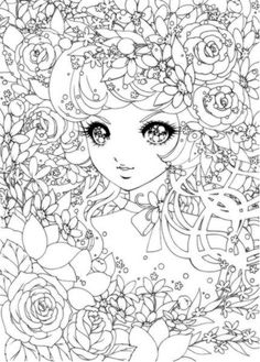 Detailed Japanese Shoujo colouring pages