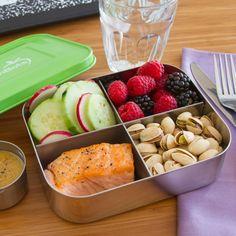 Sleek stainless steel lunch box