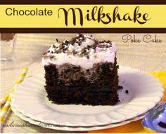 Chocolate Milkshake Poke Cake.  Chocolate and ice cream all in one! sewlicioushomedecor.com  #cake #chocolate