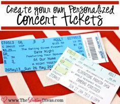 Create a personalized concert ticket invite. www.TheDatingDivas.com #datenightinvite #creativeinvite #concertticketinvite