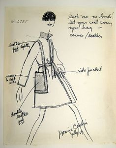 Bonnie Cashin- Coat with handbag pocket Sketch
