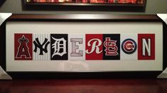 Wall art for a baseball or sports theme boys room or nursery. Use logos of MLB teams to coordinate with the letters of his name. Timeless & not cutesy - this would work well in a nursery & serve well into his teen years. Last name for adults for gameroom, man cave, bar, basement, etc