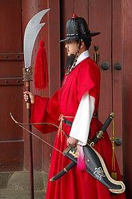 Palace guard in Seoul Korean