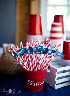 Nautical 1st Birthday   PaigeSimple.com      {1st birthday, balloons, birthday, birthday boy, blue, bubbles, cake buntings, candy cups, cupcake tower, cupcakes, food sign, gifts, gingham, marshmallow pops, nautical, navy, party hats, pennant banners, pin wheel, pinwheels, polka dot, red, rice krispie whales, signs, Simply Mella Photography, straws, stripes, table tents, whales, white}