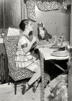 """November 19, 1917. New York. """"Frances White in dressing room."""" Half of the vaudeville team Rock & White"""