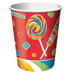 #SugarBuzz Cups show a sweet design of lollipops, candies and more in the colors of red, green, yellow, green and blue.