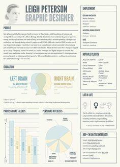 Creative Curriculum Vitae #CV inspiration, creativ cv, graphic designers, design resum, layout, book, graphics, resume design, right brain