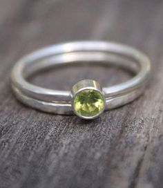 Birthstone Stacking Ring Hammered Sterling Silver Set of Two