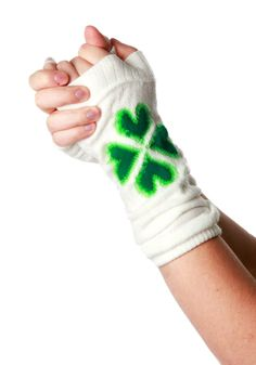 Private Island Party  - St Patrick's Four Leaf Clover Green on White Armwarmers 5200, $1.85 - $6.95    Let your inner leprechaun fly with our four leaf clover green on white armwarmers. These hip fashion accessories are sure to get you some attention next St. patrick's day.