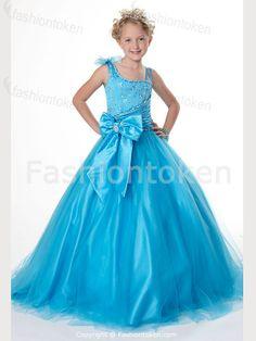 Blue A-Line Elastic Woven Satin/Fine-netting Beading/Ruffle/Bow Floor-length Flower Girl Dress 001