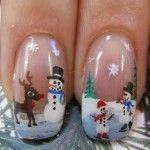 Christmas Snowman Nails christmas nail designs, winter scene, holiday nails, nail art designs, christmas nails, nail art ideas, winter nail, christmas snowman, christmas nail art