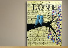 Unique Engagement Gift - 12 x 16 Vintage Music Sheet Painting On Canvas -  Love Birds In A Tree Handmade Acrylic Painting - Wedding Gift. $40.00, via Etsy.