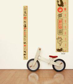 Height Chart Wall Decal 'Taller Than', Fabric Wall Sticker