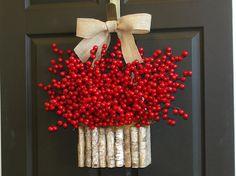 Christmas wreaths Holiday red berry wreaths Seasons Greetings wreaths Christmas front door birch bark vases wreath decorations berri wreath, christma wreath, christmas wreaths, front door decor, holiday wreaths, christmas front doors, fall wreaths, burlap bows, berries