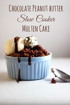Oh my. Chocolate Peanut Butter Slow Cooker cake. Drool.