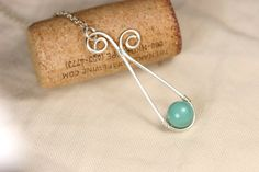 Green Turquoise Necklace Wire Wrapped Jewelry Handmade Sterling Silver Jewelry Handmade Swarovski Pearl Necklace