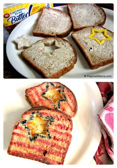 Patriotic Grilled Cheese Sandwiches for Kids - #Ad #CookWithSpreads at B-InspiredMama.com