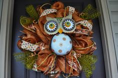 Deco Mesh Fall Wreath with ribbons and owl, great copper color for the Autumn Season by RedWithEnvyDesigns
