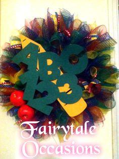 Daycare school mesh wreath