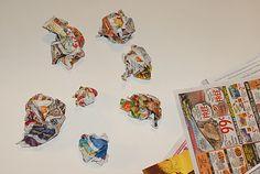 Use newspaper balls instead of styrofoam for yarn balls! So much cheaper!