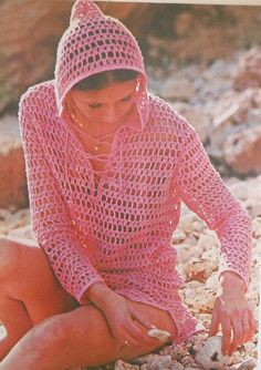 Retro Hooded Beach Cover-up Crochet Pattern