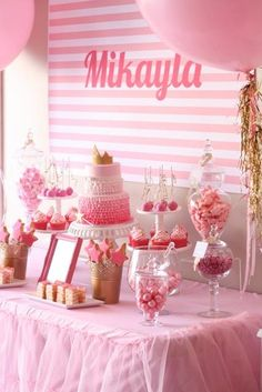 Pink party buffet table