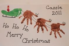 Made from hand prints and foot print. Santa is made from thumb prints. ENJOY;)