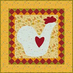 A Little Chick with Heart, Miniature Quilt Pattern