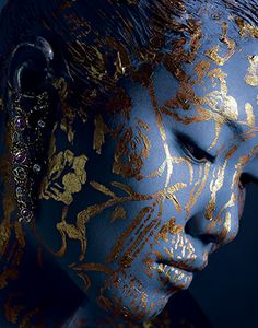 beautiful body painting and goldleaf