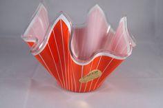 Cordon Handkerchief Chance Glass Orange  by VintageGlassHouses, £17.55