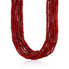 """Multi-Strand Red Coral Bead Necklace in 18kt Gold Over Sterling Silver . 17"""""""