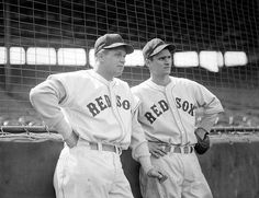 Hall of Famers (l to r:) Boston Red Sox first baseman Jimmie Foxx and Red Sox second baseman Bobby Doerr at Fenway Park in 1939.