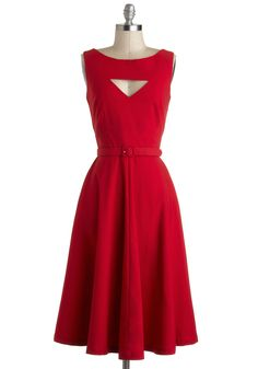 The Evening Unfolds Dress in Red by Bettie Page - Long, Red, Solid, Cutout, Belted, Work, A-line, Sleeveless, Party, Rockabilly, Vintage Inspired, 50s, Holiday Party, 40s, Fit & Flare, Top Rated