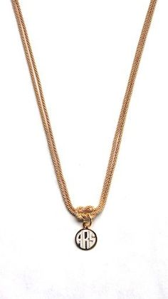Monogrammed Square Knot Necklace - Gold with Block Monogram