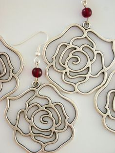 Bridesmaid Earrings Set of 3: Roses in Silver and Ruby Red