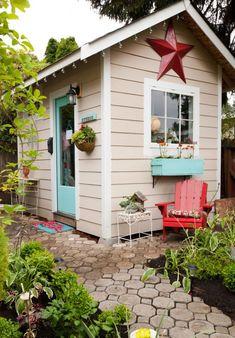 playhous, cottag, color, backyard studio, outdoor sheds