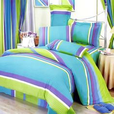 Love the combination of lime, aqua and purple in this teen girls bedding set!