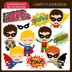 11 graphic elements of superhero boys theme. Perfect for your party invitations, craft projects, paper products, stationery, scrapbooking, web designs, stickers and many more!