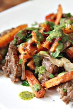 Skirt Steak and Sweet Potato Stir-Fry with Chimichurri Sauce by @Matt Nickles Valk Chuah Noshery