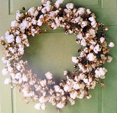 wreath with cotton | cotton wreath - I want one! | For the Home
