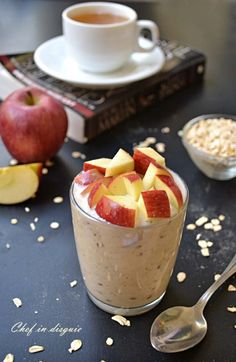 Apple Refrigerator Oatmeal in a Jar 1/3 cup oatmeal, 1/3 yogurt, 1/3 milk, 2 tsp. honey,  1/2 chopped apple. Put all in ingredients in a jar, stir, close lid, give it a good shake, store in fridge overnight